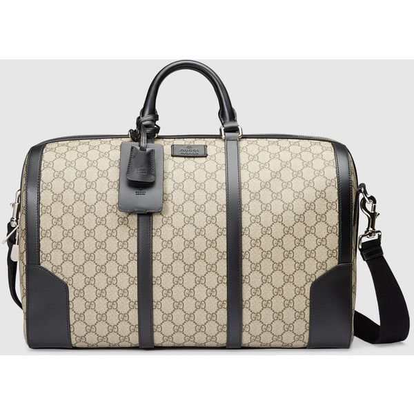 Gucci Gg Supreme Duffle ($1,750) ❤ liked on Polyvore featuring bags, luggage, accessories, luggage & lifestyle bags and women