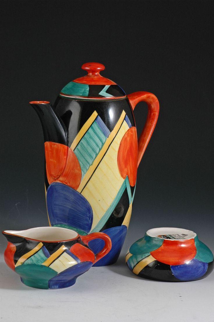 Andrew Muir | Clarice Cliff, Art Deco Pottery, Moorcroft and 20th Century Ceramics Dealersusie cooper 'Moon & mountain' coffee set C1930