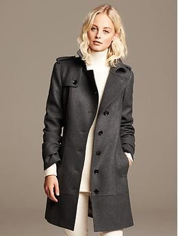 Charcoal Wool Trench | Banana Republic