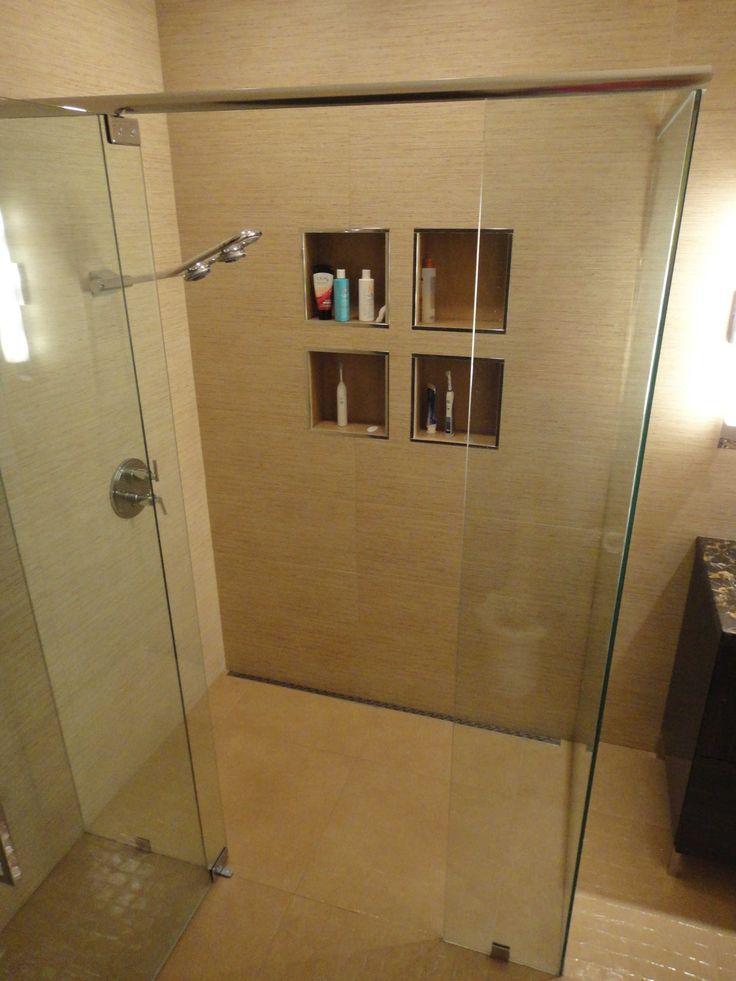 A rear shower pan drain is sleek way to create custom