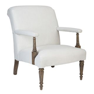 'Sutter' White Linen Upholstered Leisure Arm Chairs (Set of 2)