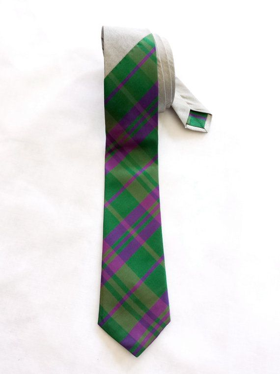 Green & Pink Diagonal Check with Silk Tie by WatfordTies on Etsy