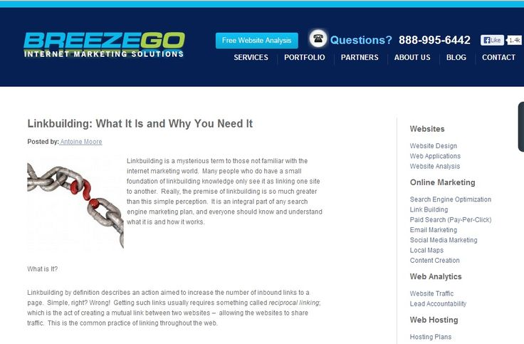 Link building is an integral part of any search engine marketing plan, and everyone should know and understand what it is and how it works. For more please visit: http://www.breezego.com/what-is-linkbuilding-and-why-you-need-it/