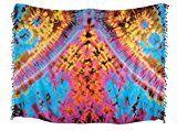 Trendyloosefit Sarong Pareo Wraps Skirt Authentic Tie Dye Fadeless (Blue-Orange)