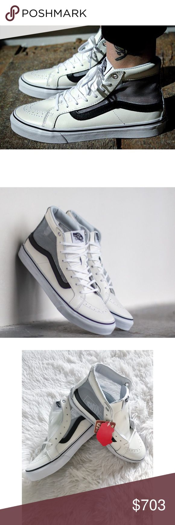 Vans Unisex Sk8-High Slim Leather Mesh Sneaker 🆕 W/ RETAIL TAGS, NO BOX, NEVER WORN ✖️NO TRADES • NO PP • NO MERC@RI  ✔️ADD'L INFO/PICS BY REQUEST ✔️POSTED = AVAILABLE  ✔REASONABLE OFFERS WELCOMED ✔BUNDLE 2+ FOR 10% DISCOUNT Vans Shoes Sneakers