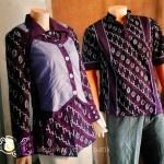 Couple Batik kemeja batik pria dan blouse wanita one heart purple, dengan batik cap modern dipadukan dengan polos warna senada.