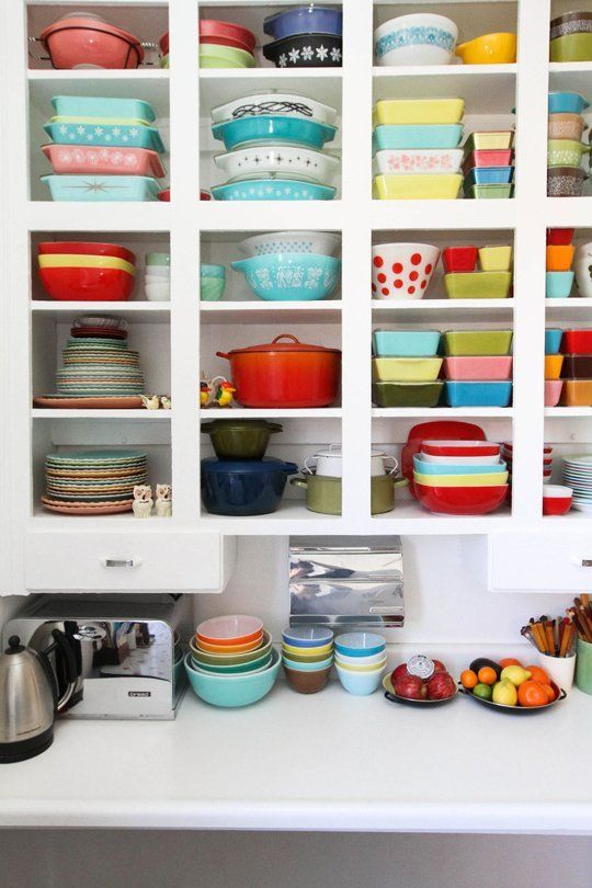 pyrex + colorful cookware on display in Kirsten's Bluebird of Happiness House
