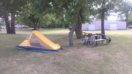 "Camping in Manitoba! Thanks to Shaun at bike shop ""two tired guys"""
