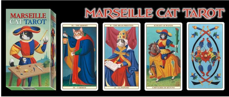 Tarot de Marsella, con simbolos de gatos. Una muestra de los desarrollos de negocios actuales..