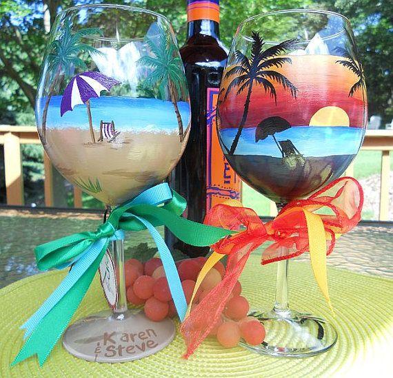 Hand Painted Beach Scene, Sunset Beach Scene Wine Glasses