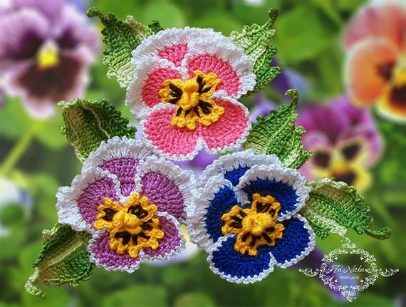 Pattern Pansies And Leaves Crochet Flowers How To Make Pansy Etsy In 2020 Crochet Flowers Irish Lace Crochet Pansies