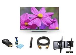 Sony KDL50W800B 50-Inch 1080p 120Hz 3D Smart LED TV + Google Chromecast HDMI Streaming Media Player + 3m High Speed Orange Gold HDMI Cable for 2160p, 3D, and 4K + Focus 32″-70″ TV Bracket Mount with 165 lbs Capacity + Monster Surge Protector with 7 AC Outlets