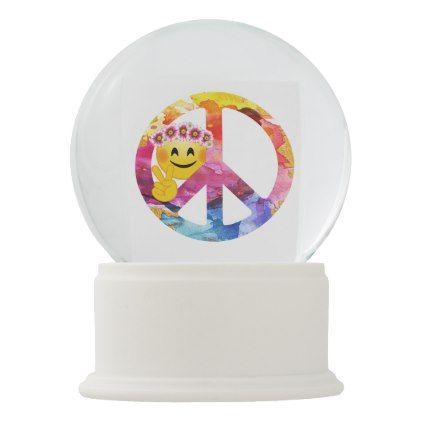 #Peace Sign Hippie Emoticon Watercolor Art Snow Globe - #emoji #emojis #smiley #smilies