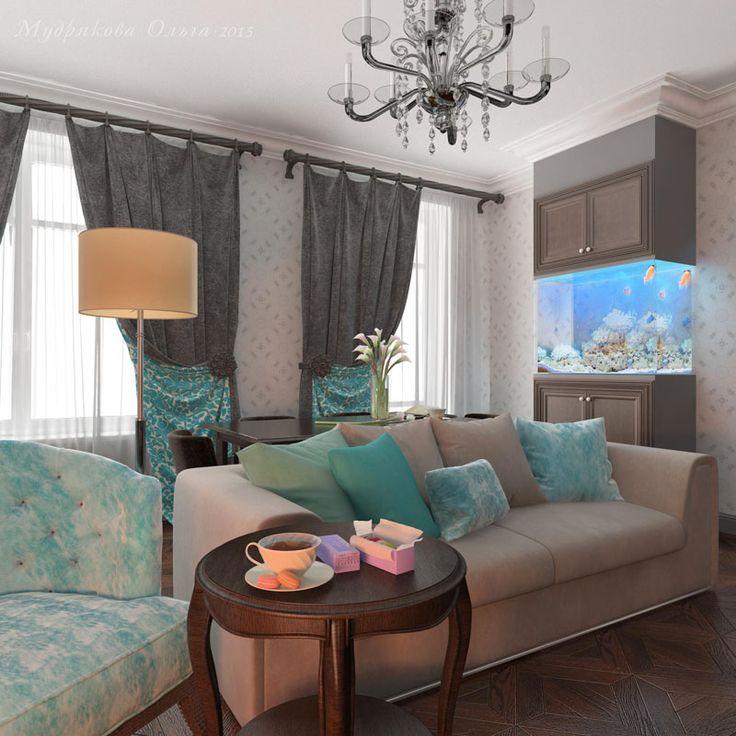 Дизайн аквариума в гостиной на Кирочной в СПб
