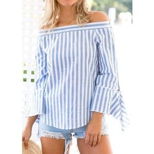 Off the Shoulder Stripe Print Long Sleeve Blouse