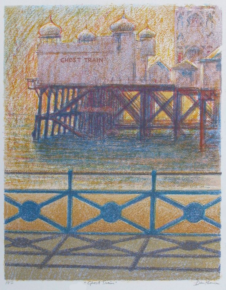 """""""Ghost Train"""" 33x42cms Having lived in Brighton, I have a slight obsession about piers. This is the ghost train on Palace Pier though as it was in the early 70s, not as it is now..."""