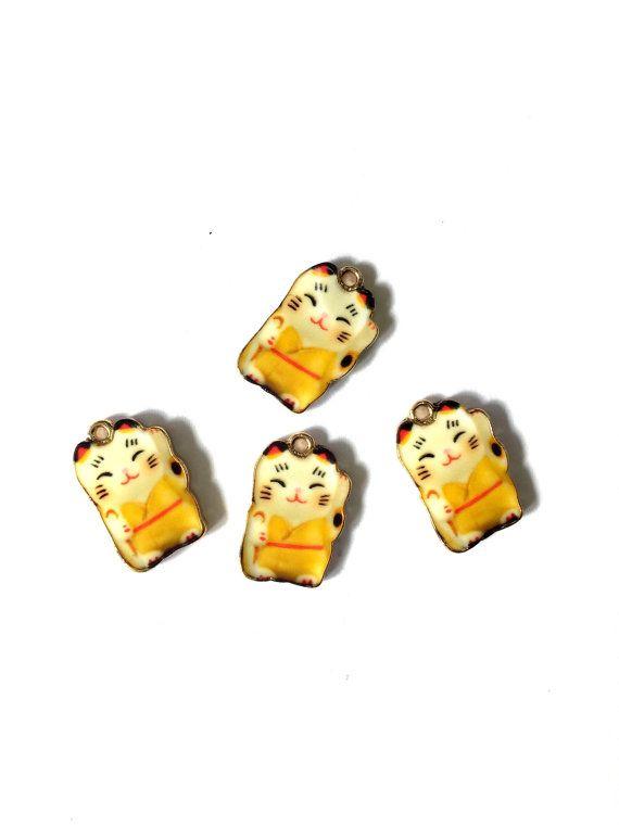 Japanese Lucky Cat Enamel in Yellow Enamel Charm by KajaSupplies
