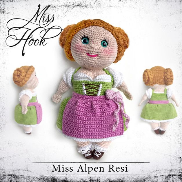 "Crochet Tutorials – Häkelanleitung Puppe ""Miss Alpen Resi"" eBook – a unique product by MissHook on DaWanda"