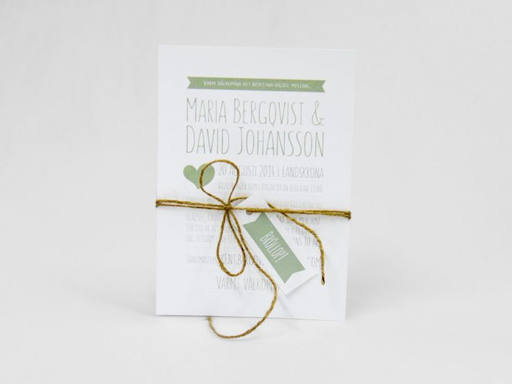 Tryckt kort för bröllop i grönt. Ni kan välja vilken färg detta kort ska tryckas i. Inbjudan