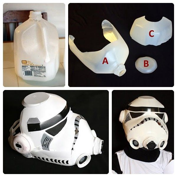 Star Wars mask out of a milk carton. I'm going to surprise Matt with this one day :D