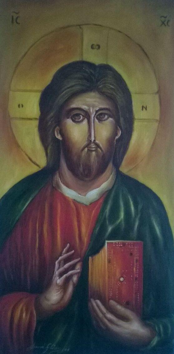 """Pantócrator Cristo Glorioso"" (Glorious Christ). 2008. 60x30cm. Oil on canvas by David Florez."