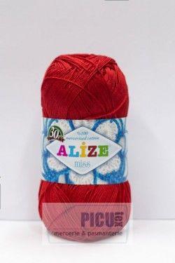 Poze Fir de tricotat sau crosetat - Fir BUMBAC 100% ALIZE MISS ROSU 56