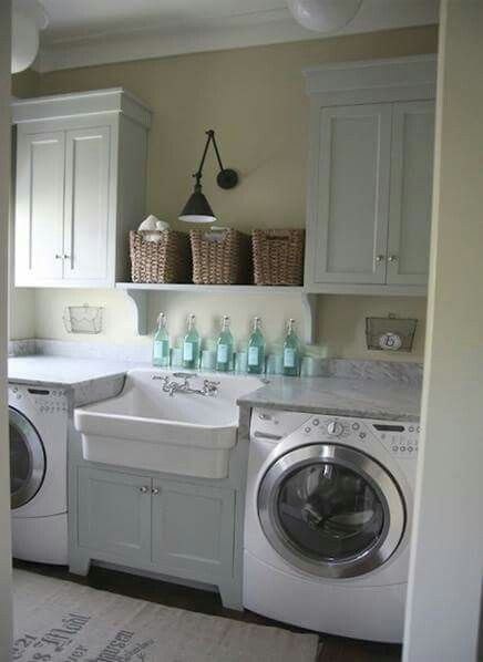 Love this sink and arrangement of machines around it. I like the countertops and cabinet under sink. Want doors over each machine since they'll be in hallway-See other pin for door style.  See other pin for upper cabinet style.
