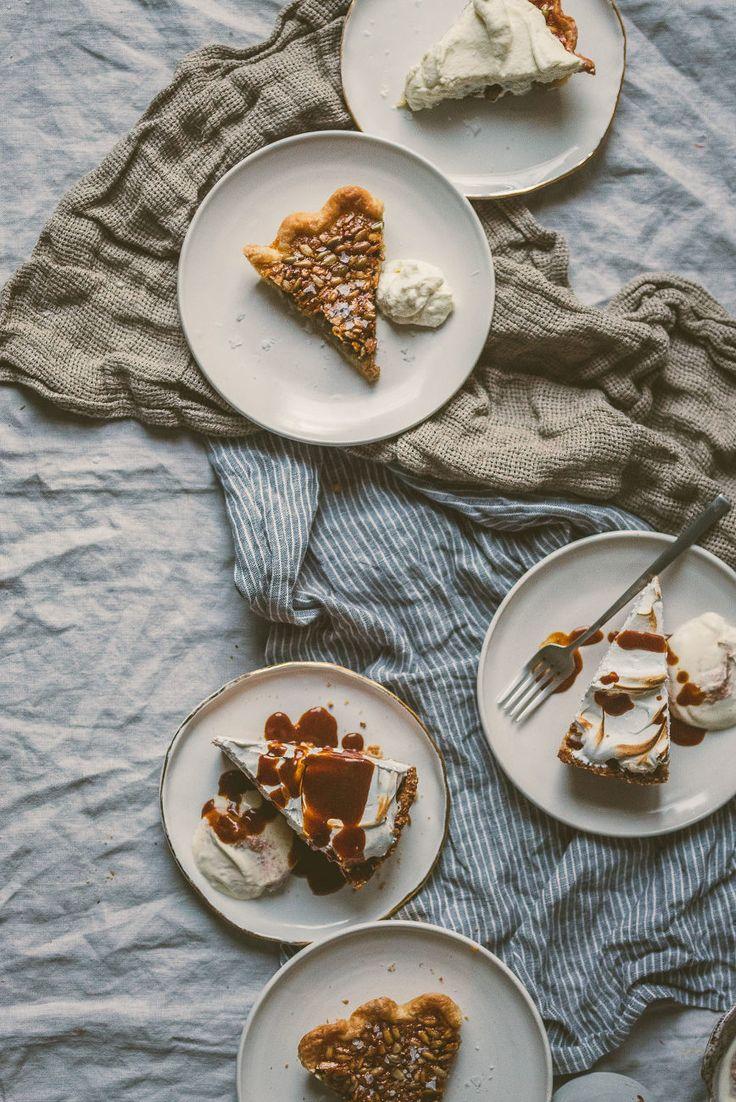 salty honey seed pie + sweet potato marshmallow meringue pie with miso caramel drizzle   bettysliu.com
