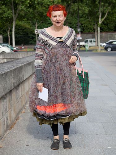 Couture Week Street Style - Lynn Yaeger,  wearing Marni and Comme des Garçon.
