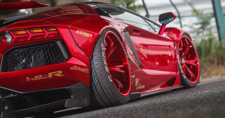 Liberty Walk Lamborghini Aventador Roadster Sees Red Everywhere #Japan #Lamborghini