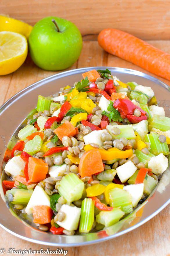 Lentil salad dinner - an assortment of fruit and veggies.