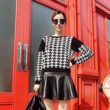 Women's Houndstooth Angora Pullover Sweaters – EUR € 15.46