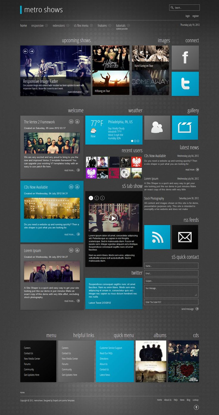 S5 Metro Shows - Shape5 Responsive Joomla Template. Metro Shows is versatile Responsive Joomla Template and loaded with great features! The design can be used on any website but has a modern metro style to it which works great along side responsive.