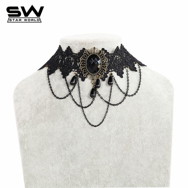 STARWORLD marque bijoux maxi vêtements de collier femmes accessoires Vintage pendentif ras du cou Style dentelle ras du cou pour femmes