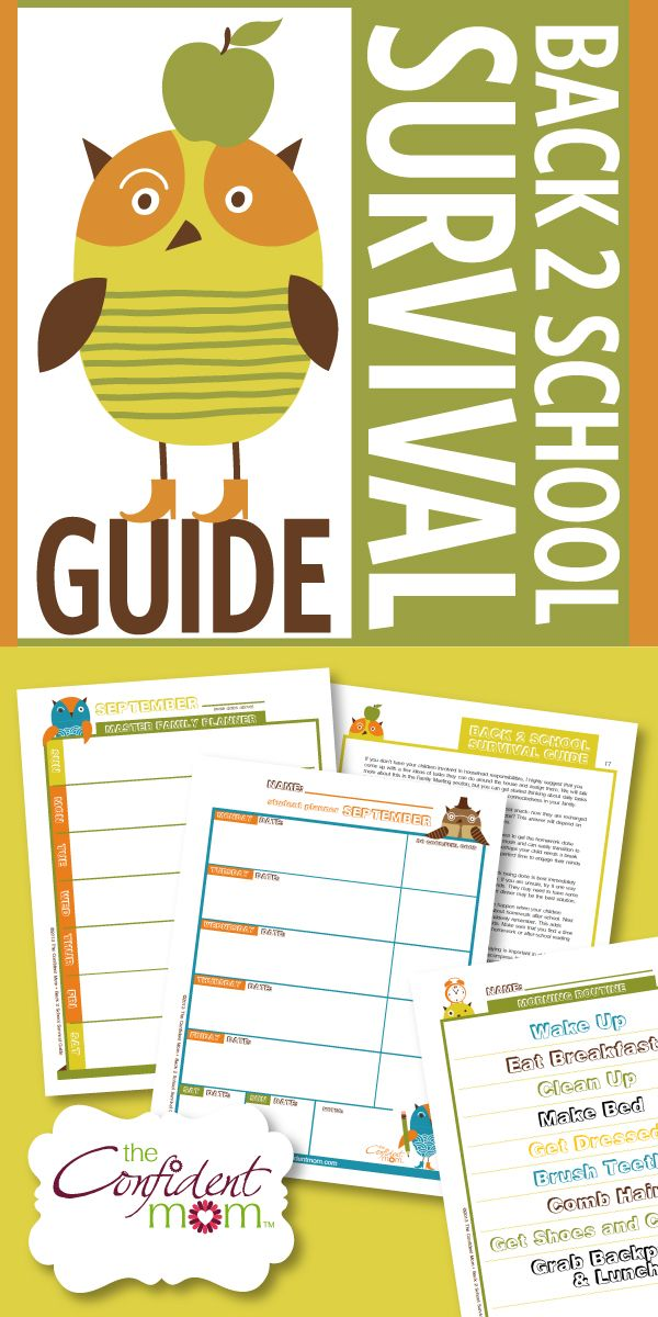 Getting your family geared up for a successful school year takes some preparation. The Confident Mom's Back 2 School Survival Guide has all the information and tools you need to accomplish this not-so-easy, time-consuming task. #backtoschool #familymanager