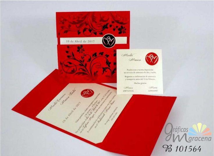 Invitación de boda corazón en color rojo.