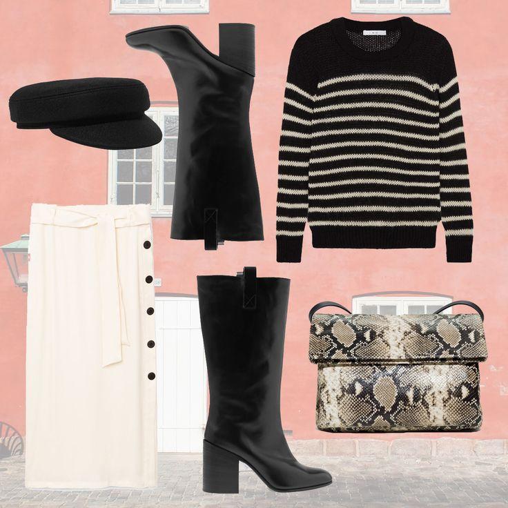Trend du JOUR - Knee High Boots im skandinavischen Look zum Nachstylen. Pullover: Iro, Rock: Mango, Boots: Acne Studios, Mütze: Isabel Marant, Tasche: & Other Stories  #ootd #minimalistisch #stiefel #boots #herbst #winter #rock #skandinavisch