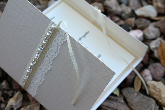 Deluxe Rhinestone and pearls Wedding Invitation Suite on Etsy, £4.38