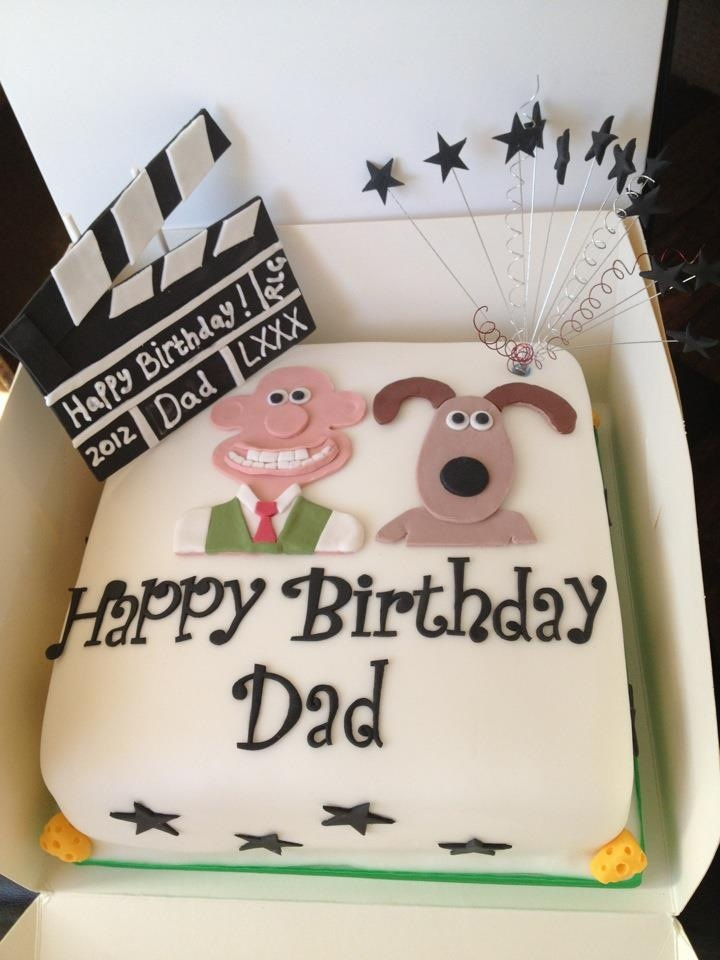 Wallace & Gromit themed birthday cake with clapper board.