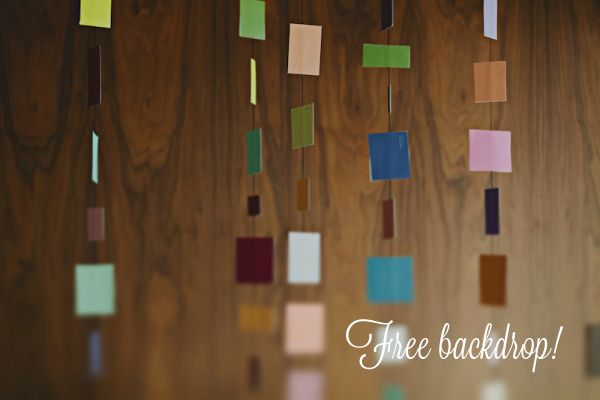 DIY hanging backdrop with paint squares... do it in our wedding colors!
