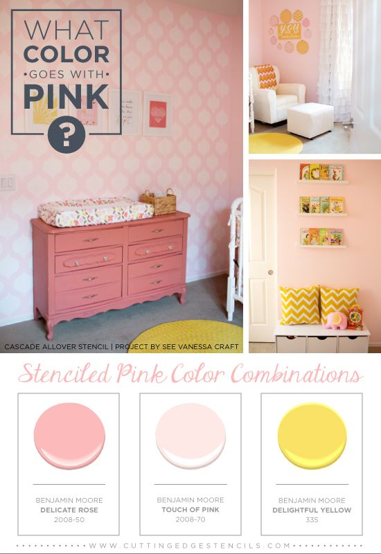 Stenciled Pink Color Combinations Using The Cascade Stencil From Cutting Edge Stencils And Benjamin Moore Paints