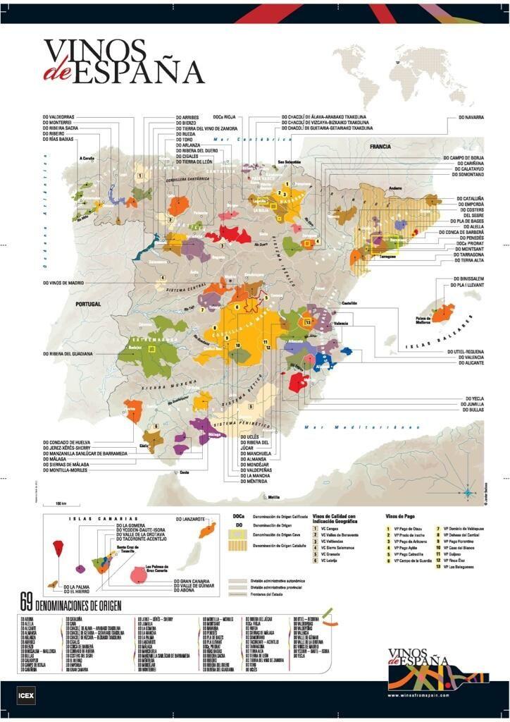 Mapa de los vinos de España. Con las diferentes Denominaciones de Origen Protegidas. #wine #winelovers #vino