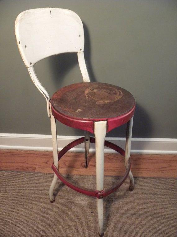 vintage all metal costco stool chair by