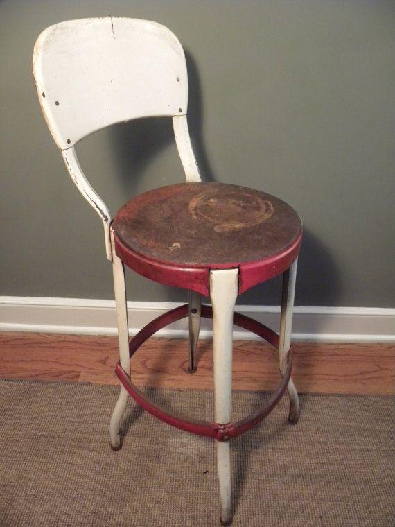 vintage all metal costco stool chair