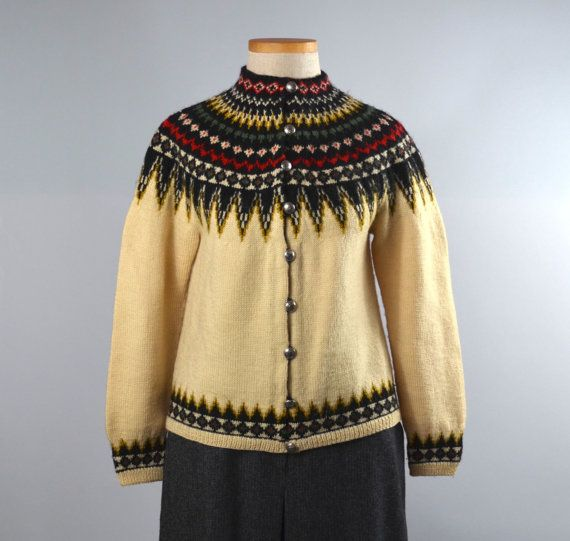 Sundt | Vintage 60s Nordic Fair Isle Cardigan | 1960s Hand Knit Wool Sweater  by RevengeOfTheDress