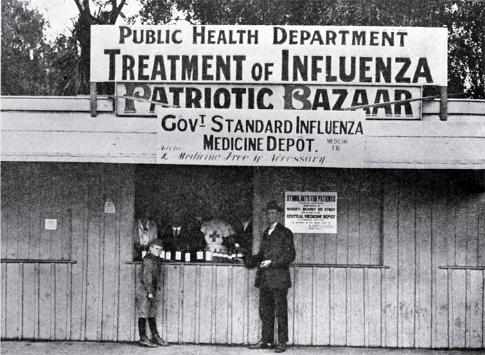The medicine depot in Cathedral Square where the Government standard influenza medicine was supplied 1918