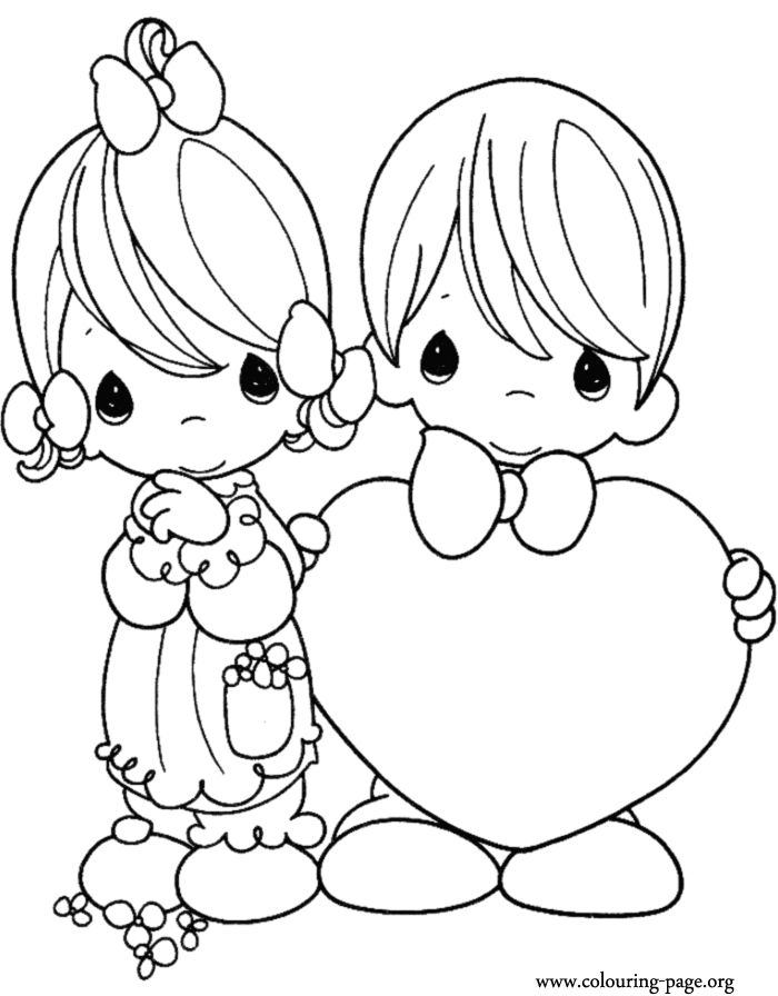 in this awesome coloring page about valentines day a little boy is giving a big
