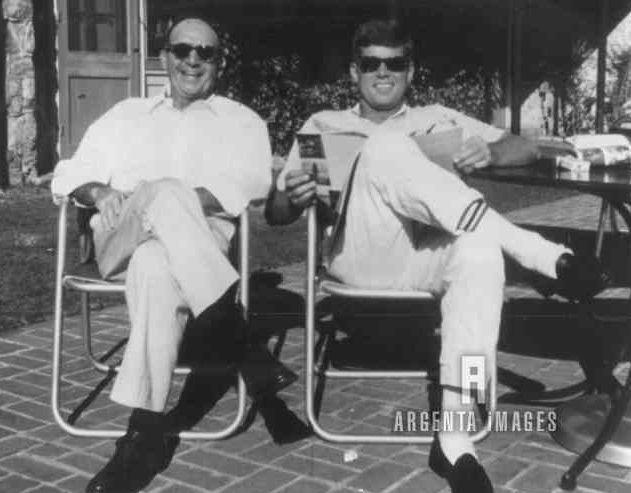 1961-Dave Powers with JFK, Camp David