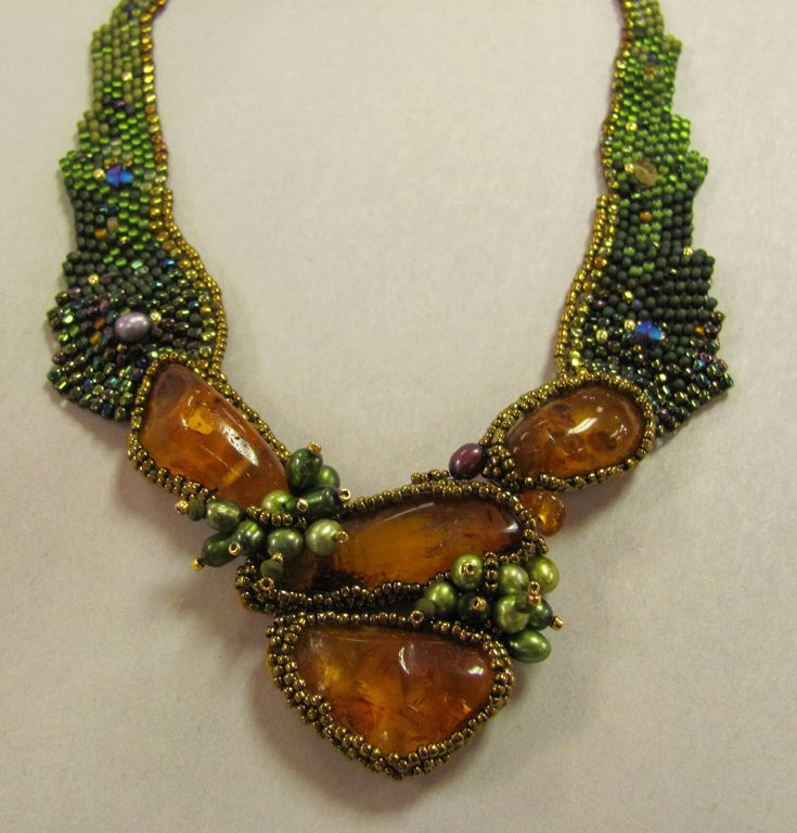 Freeform beadwoven necklace with amber cabochons and pearls by Amolia Willowsong.