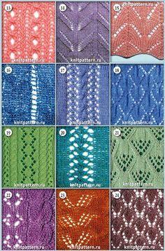 Образцы узоров со схемами для вязания на спицах. Страница №37.